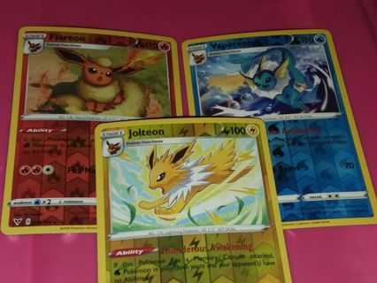 Vivid Voltage Eeveelutions rev holo set! Flareon, Vaporeon, Jolteon Pokemon Cards NM-MINT