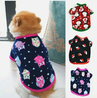 Pet Dog Clothes Puppy Short Sleeve T-shirt Autumn Winter Fleece O Neck Pullover