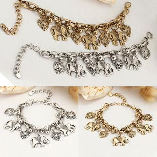 [GIN FOR FREE SHIPPING] Women Tibetan Silver Elephant Heart Chain Bracelet