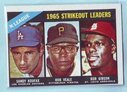 1966 Topps Strikeout Leaders Sandy Kofax Bob Gibson Baseball Card # 225