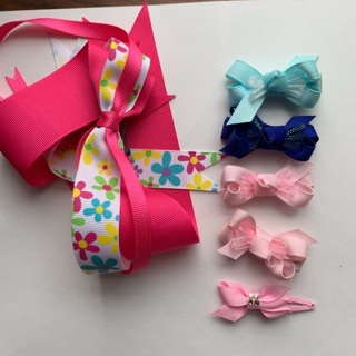 5 Bow Barrettes Blue Pink FREE Ribbon Barrette included
