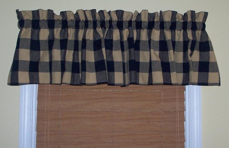 Free Navy Blue Buffalo Check Country Curtain Valances