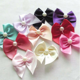 [GIN FOR FREE SHIPPING] 20Pcs Big Pearl Satin Ribbon Flowers Bows Craft Wedding Decor