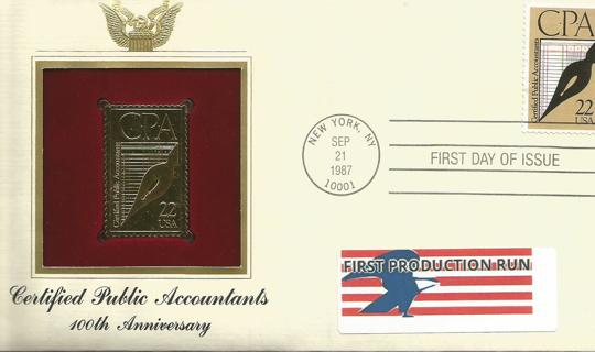 Pure 22 KT GOLD Postage Stamp Certified Public Accountants 100th Anniversary FPR