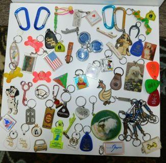 Huge 70 Piece KEY RING Key Chain Lot Bundle Separators 80s Toy Car Animals