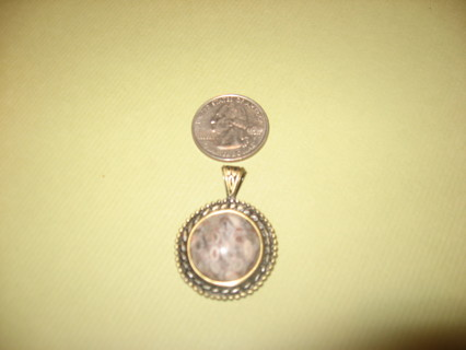 """NATURAL FOSSIL CRINOID GEMSTONE SOLID COPPER PENDANT 1 1/2"""""""