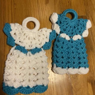 Hand Crocheted Pair of Large Decorative Angel Potholders .