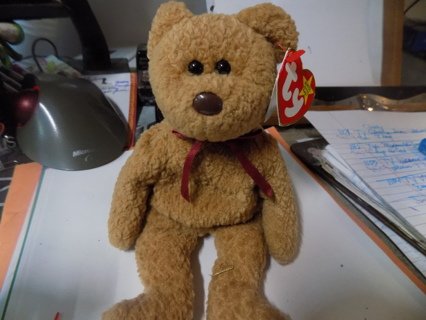 TY vintage Curly the brown bear 8 inch