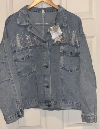 Women's Plus Size Distressed Denim Jacket
