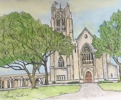 "HIGHLAND PARK CHURCH - 5 x 7"" art card by artist Nina Struthers - GIN ONLY"