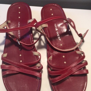 Nine West playwright Red Leather sandals 8.5 M