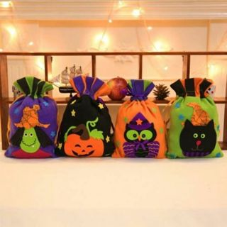 Halloween Drawstring Candy Bag Gift Storage Pouch Party Favor Decor Ornament