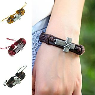 Cross Genuine Leather Bracelet Charm Cuff Bangle Bracelet Jewerly Women Men Gift