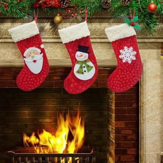 3 Pieces/Set Mini Christmas Stockings Socks Santa Claus Candy Gift Bag Xmas