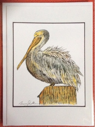 """POSING PELICAN - 5 x 7"""" art card by artist Nina Struthers - GIN ONLY"""