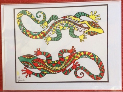 "RED LIZARDS - 5 x 7"" art card by artist Nina Struthers - GIN ONLY"