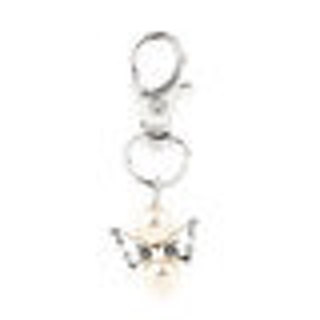 One Silver Tone Open Work Wings w/ Creamy White Bead with Key Ring Clasp - 53mm