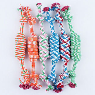2Pcs NEW Puppy Dog Pet Chew Toy Cotton Braided Bone Tug Play Game Rope Knot Toy