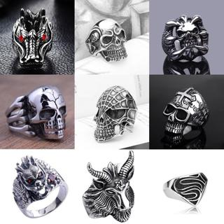 Men's Stainless Steel Fashion Gothic Punk Skull Head Biker Finger Rings Jewelry