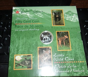 1996 Canadian 50-Cent Little Wild Ones: Moose Calf Proof Silver Coin