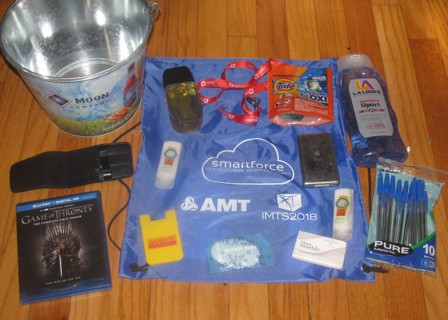 Mens tiered Cologne, Blue Moon beer bucket, Game of Thrones 1 DVD, Pens, Tide , Lanyard, Ipod