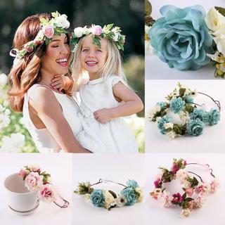 Women Kid Wedding Flower Hair Garland Crown Headband Floral Wreath Hairband Set