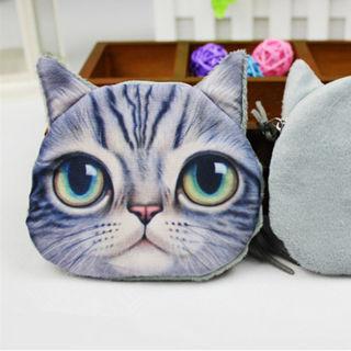 3D Cute Wallet Bag Animal Face Zipper Mini Cat Coin Purses Dog Purse Plush