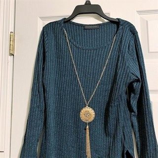 Brand New Pine Green Ribbed Tunic Top W/ Necklace