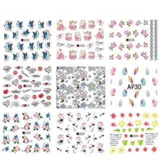 20 RANDOM Sheets Water Transfer Nail Decals