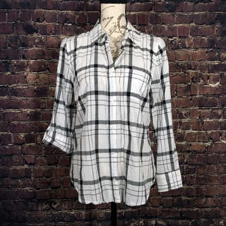 Faded Glory WOMEN'S Plaid Button Down Semi-fitted WHITE Cotton Flannel - Small