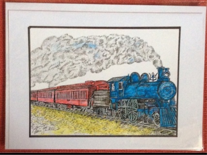 "BLUE LOCOMOTIVE - 5 x 7"" art card by artist Nina Struthers - GIN ONLY"