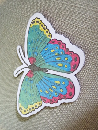 Butterfly refrigerator magnet colored by me