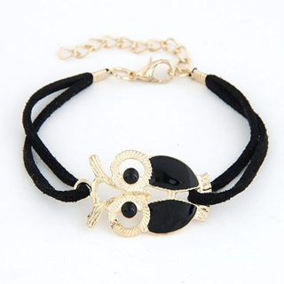 2019 Hot Fashion Bijoux Black Owl Leather Unlimited Charm Cuff Bracelets Bangle For Women And Men