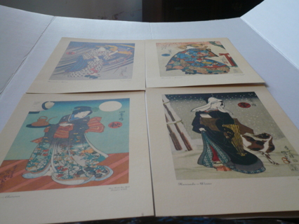 4 KUNISADA JAPANESE ART PRINTS EARLY 1970S