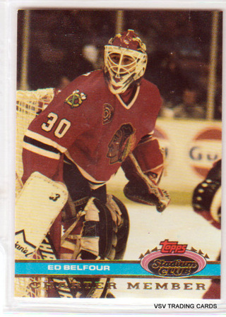 Ed Belfour, 1991 Topps Stadium Club Charter Member Card, Chicago Blackhawks  (2)