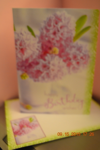 "****BEAUTIFUL PINK FLOWERS IN WHITE VASE ""BIRTHDAY CARD"" W/MATCHING ENVELOPE***FREE SHIPPING"