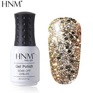 HNM Glitter Diamond 8ml UV Gel Nail Polish Semi Permanent Painting Gellak Shiny Lucky Lacquer Enam