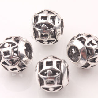20Pcs Antique Silver Big Hole Loose Hollow Spacer Beads Charms Craft DIY 10mm