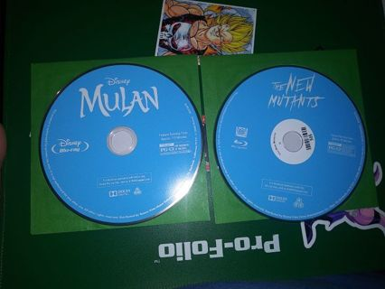 2 MOVIES BLU-RAYS DISC ONLY MULAN (LIVE ACTION VERSION AND THE NEW MUTANTS