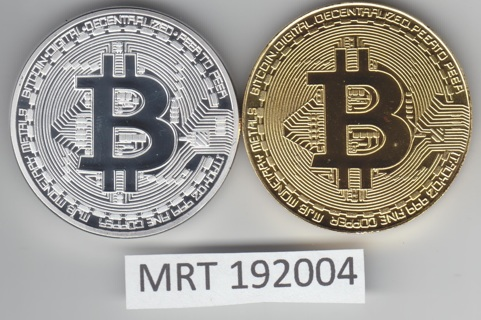 2 physical bitcoins - 1 gold and 1 silver - not crypto MRT192004