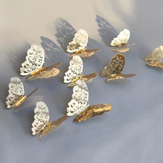 12pcs 3D Hollow Butterfly Wall Sticker for Home Decor DIY Butterflies Fridge stickers  Room Decora