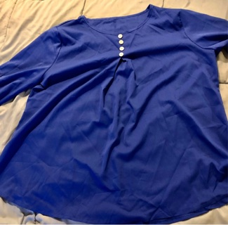 BNIP Royal Blue and Beautiful Blouse. Sheer. XL. Long Sleeved