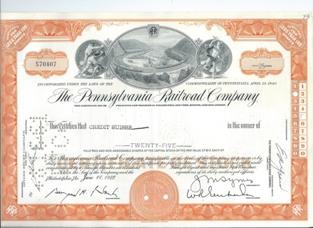 Pennsylvania Railroad stock certificate 1960 Horseshoe Curve vignette