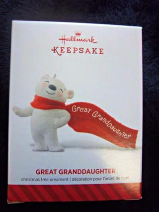"NEW - $9.95 Retail ~ Hallmark Keepsake ""Great Granddaughter"" Ornament - BEAR with Scarf FREE SHIP"