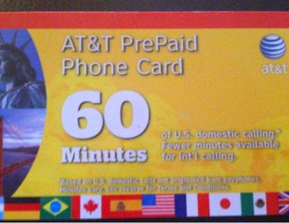 60 minute att prepaid phone card - Prepaid Calling Cards