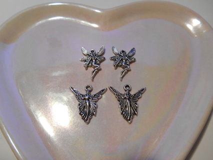 4 Silver Fairy Charms - New