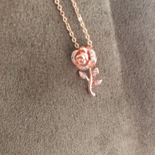 Mother's Day Special. Rose❤️Rose Gold Plated Necklace with Crystal Zircons and aChain. #03