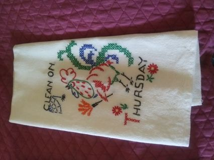 Hand stitched embroidered flour sack kitchen towel