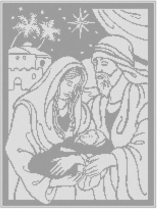 Free Mary Joseph Baby Jesus Filet Crochet Pattern Crochet