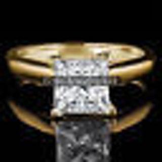 PATRICIA 0.50Ct PRINCESS Lab Diamond Pure 14K Yellow GOLD Engagement Woman Ring